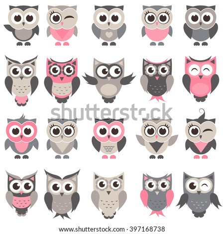 cute owls and owlets set - stock vector