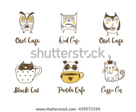 Cute owls, cat and panda drinking coffee. Hand drawn symbols, icons, illustrations - stock vector