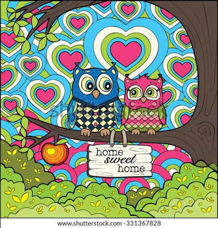Cute Owls -  Colored Version of The Art Therapy Coloring Page - stock vector