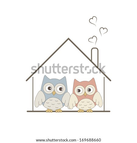 Cute owls couple in their cozy nest - stock vector