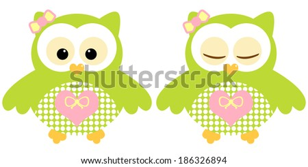 Cute owls. Illustration of pair of green owls. Sleeping and not sleeping owls. Vector image - stock vector