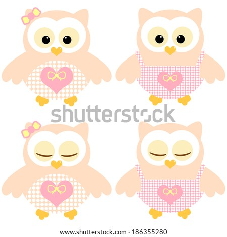 Cute owls. Illustration of two pairs of pink-peachy owls. Sleeping and not sleeping owls. - stock vector
