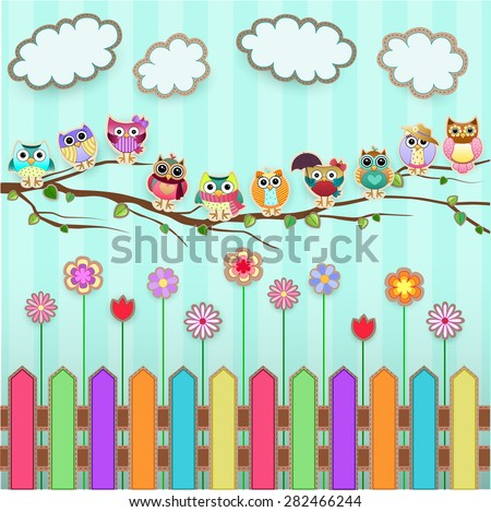 Cute Owls on a Branch Vector - stock vector
