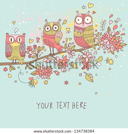 Cute owls on branch in flowers. Spring concept background.  Bright illustration, can be used as invitation card. Vector summer wallpaper - stock vector