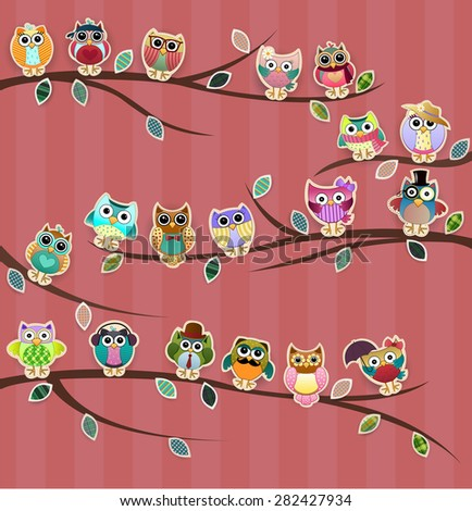Cute Owls on Branches with Stripes Vector - stock vector