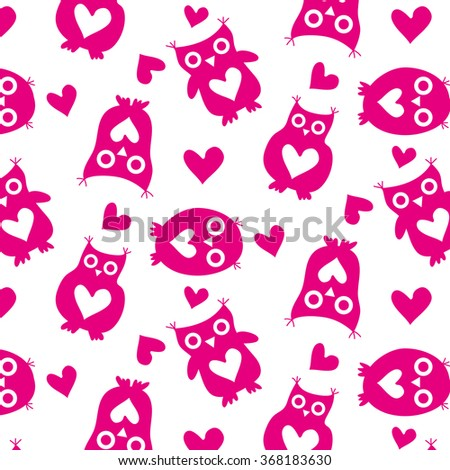 Cute owls pink silhouettes and hearts seamless pattern on a white background. The owls with big eyes and a heart on their bellies. A wrapping for Valentine's Day. Vector illustration - stock vector