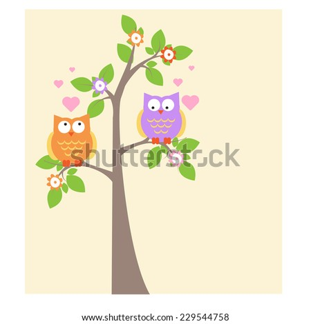 cute owls sitting on a tree. vector