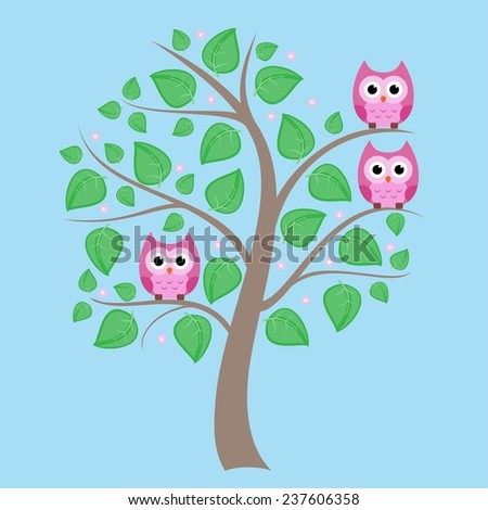 Cute owls sitting on the spring tree - stock vector