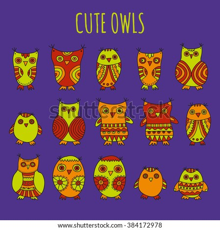 Cute Owls vector illustration. Set of bright cartoon hand drawn owls and owlets on a dark violet background