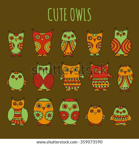 Cute Owls vector illustration. Set of bright cartoon owls and owlets on a dark background