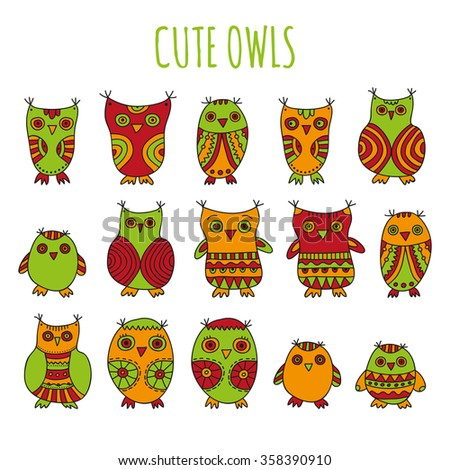 Cute Owls vector illustration. Set of bright cartoon owls and owlets on a white background