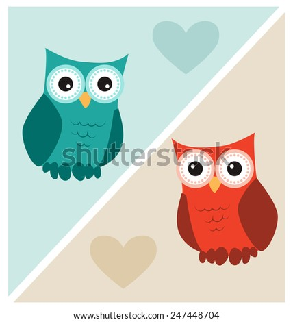 Cute Owls with Hearts - stock vector