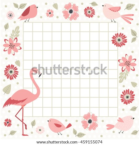 Cute page for notes. Notebooks,decals, diary, school accessories. Cute romantic vector page with flamingo, birds and flowers. Template brochure  - stock vector