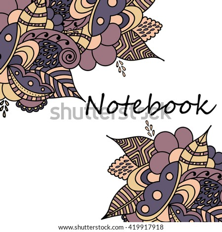 Cute pages for notes with cute delicate flowers and herbs. Notebooks,decals, diary, cards, school accessories. Cute design with floral patterns.  - stock vector