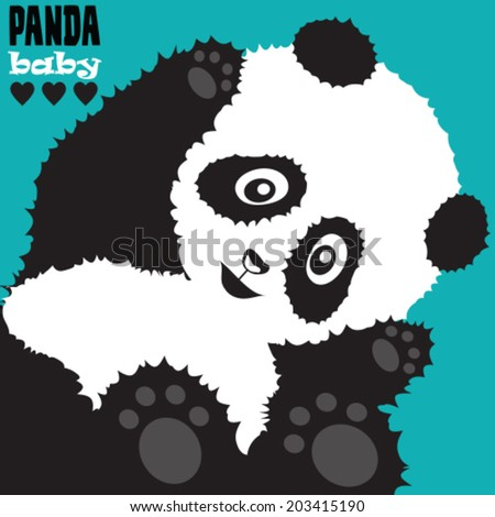 cute panda baby vector illustration - stock vector