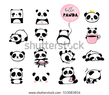 Cute Panda Bear Illustrations Collection Of Vector Hand Drawn Elements Black And White Icons