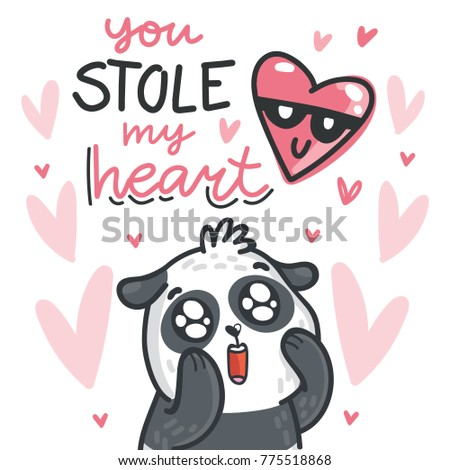 Cute Panda bear madly in love with lettering calligraphy text on romantic pink background with hearts. You stole my heart. Hand drawn love greeting card illustration in cartoon style