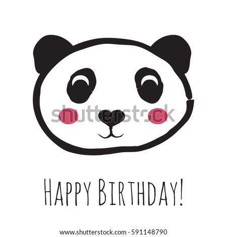 Cute panda birthday card illustration vector stock photo photo cute panda birthday card illustration in vector format bookmarktalkfo Image collections