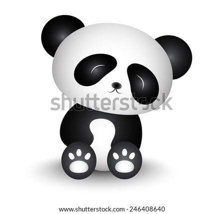 Cute Panda Cartoon - stock vector