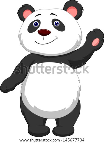 Cute panda cartoon waving hand - stock vector