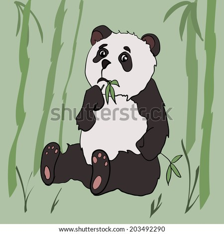 Cute panda eat bamboo. Drawn in cartoon style. Vector illustration - stock vector