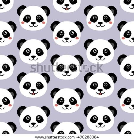 Cute Panda Face Seamless Wallpaper Cartoon Vector Flat Style stock ...