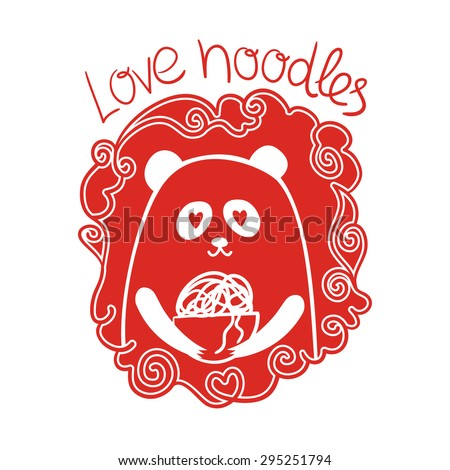 Cute panda holding a bowl of noodles. Vector illustration in the Chinese style.