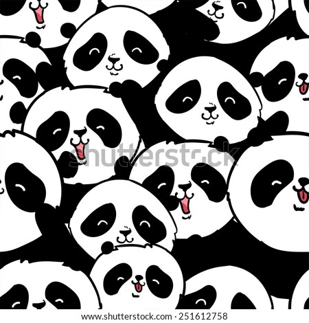 Cute panda illustration vector. Panda baby seamless - stock vector