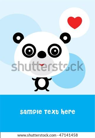 cute panda love greeting - stock vector