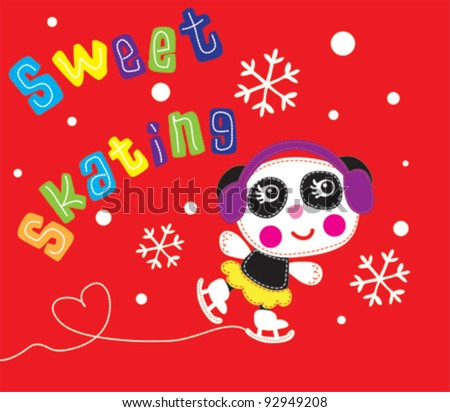 cute panda / T-shirt graphics / cute cartoon characters / cute graphics for kids / Book illustrations - stock vector