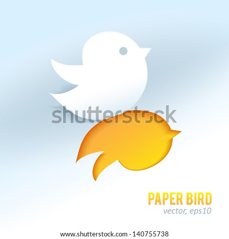 Cute paper bird vector element