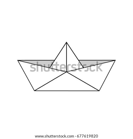 Cute Paper Boat Vector Illustration Origami Sailing Isolated On White Background
