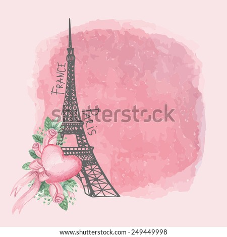 Cute Paris  Card.Eiffel tower,watercolor pink roses,spot,heart.Hand drawn doodle sketchy,watercolor decor.Room for text.Vintage Vector background.For wedding,Valentines day,romantic design - stock vector