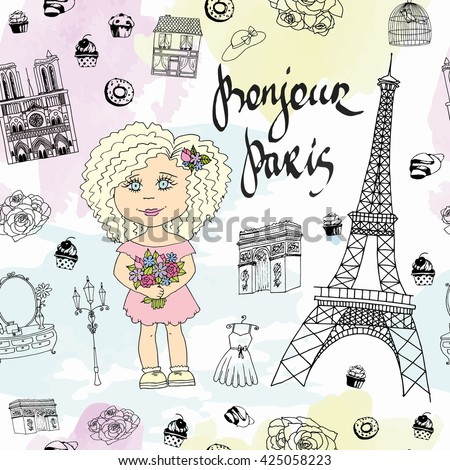 Cute Paris Girl Seamless Pattern