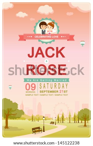 Cute park pink sky wedding invitation card template vector/illustration - stock vector