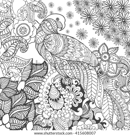Cute parrot in fantasy flowers. Animals. Hand drawn doodle. Ethnic patterned illustration. African, Indian, totem tattoo design. Sketch for avatar, tattoo, poster, print or t-shirt.