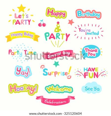 Cute Party Wording Vector Design Illustration - stock vector