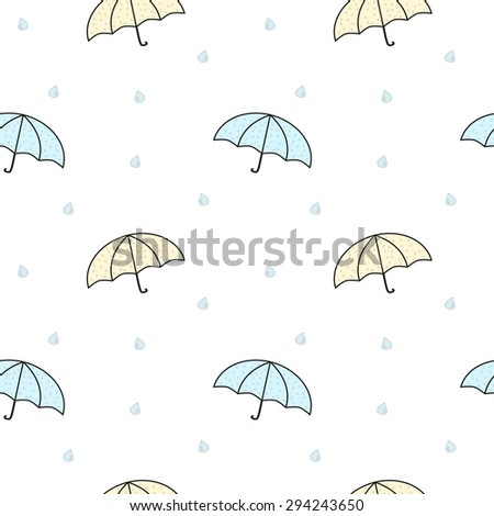 cute pastel cartoon umbrellas vector seamless pattern illustration