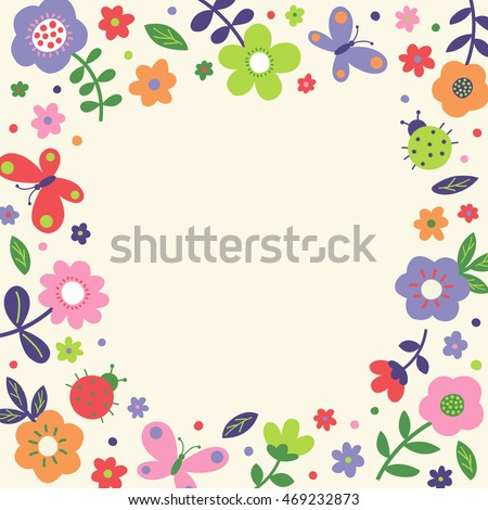 Cute Pastel Flower Butterfly And Ladybug Border Frame Vector