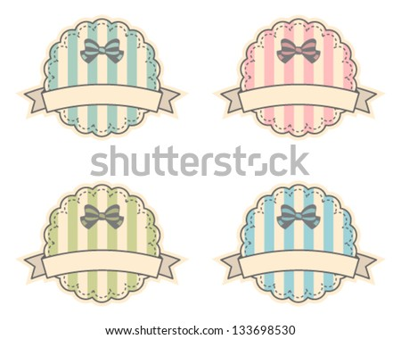 Cute pastel labels set - stock vector