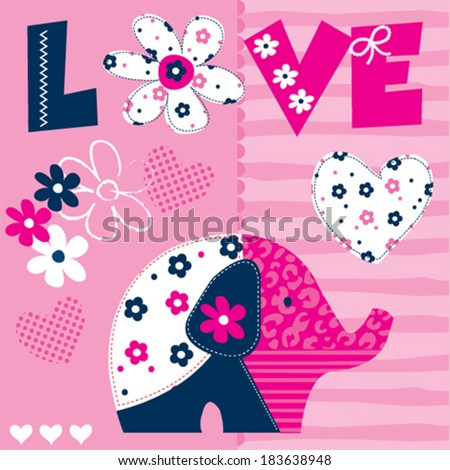 cute patchwork elephant pattern vector illustration - stock vector