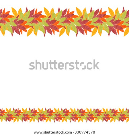 Cute pattern border frame with bright autumn leaves on the white (transparent) background. With space for invitations or cards text. Vector illustration eps 10  - stock vector