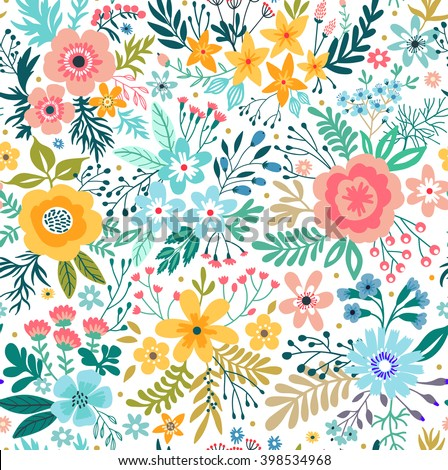 Cute pattern in small abstract flower. Beautiful colorful flowers. White background. Spring floral background. Design concept for fashion print. - stock vector
