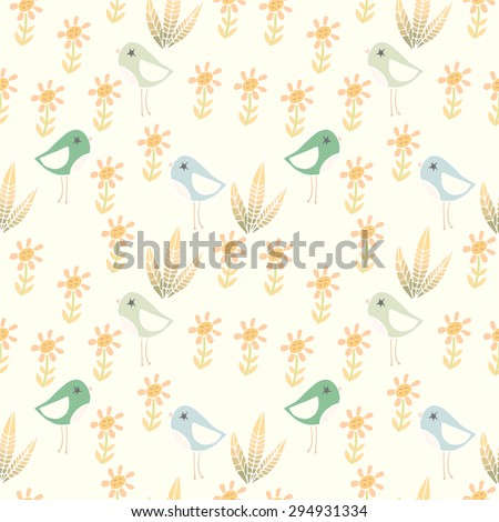 Cute pattern with birds and flowers - stock vector