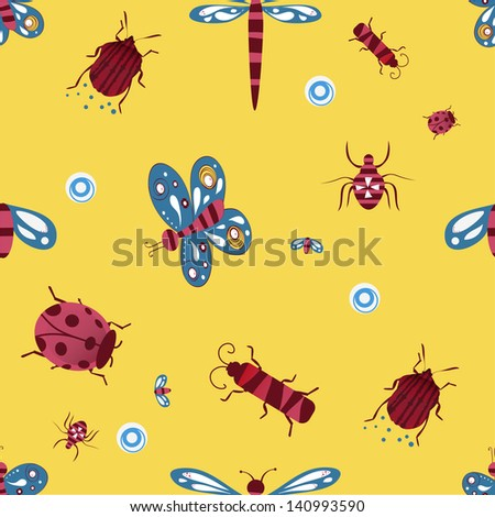 Cute pattern with bugs and butterflies. Seamless pattern can be used for wallpaper, pattern fills, web page background,surface textures.