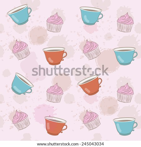 cute pattern with cupcakes and colorful tea cups - stock vector