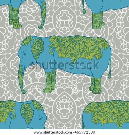 Cute pattern with elephant. Frame of animal made in vector. Elephant Illustration for design, pattern, textiles. Hand drawn map with elephant.