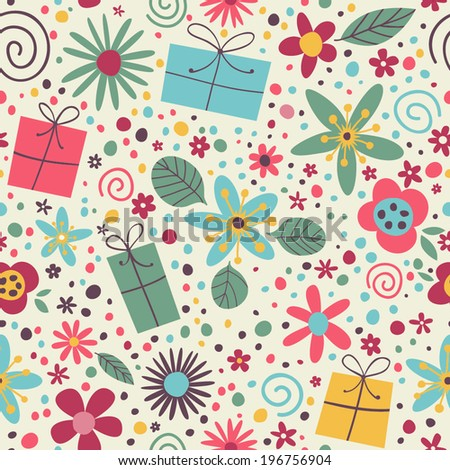 Cute pattern with gifts, flowers and confetti. Cheerful seamless pattern.