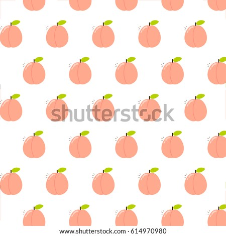 Cute pattern peaches on white background 614970980 cute pattern with peaches on white background can be used like pattern for textile voltagebd Gallery