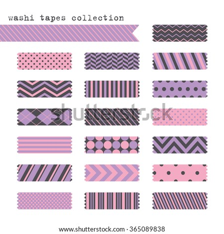 cute patterned scotch tapes collection. vector illustration - stock vector